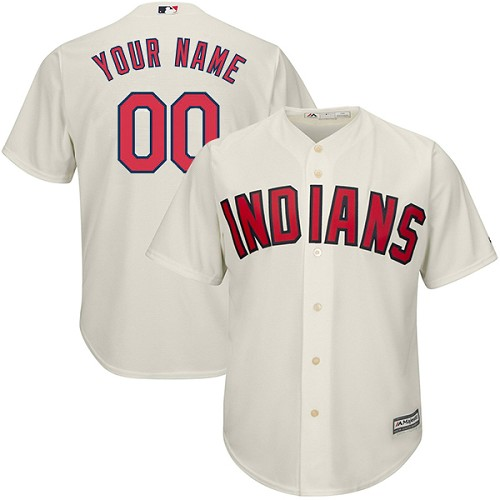 Men's Majestic Cleveland Indians Customized Replica Cream Alternate 2 Cool Base MLB Jersey