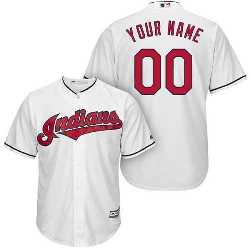 Youth Majestic Cleveland Indians Customized Authentic White Home Cool Base MLB Jersey