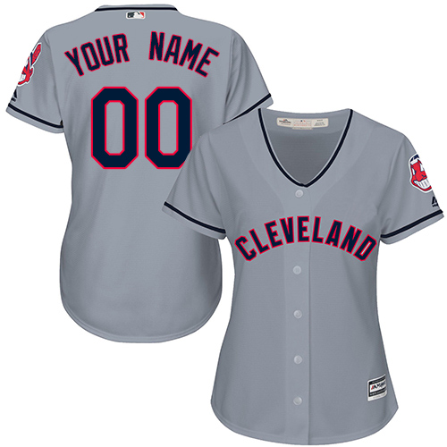 Women's Majestic Cleveland Indians Customized Replica Grey Road Cool Base MLB Jersey