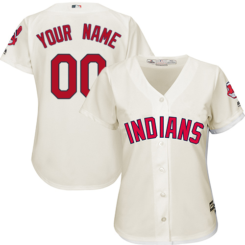 Women's Majestic Cleveland Indians Customized Replica Cream Alternate 2 Cool Base MLB Jersey