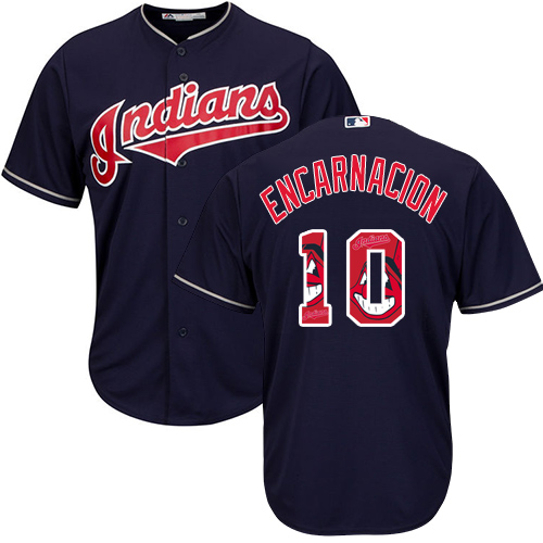 Men's Majestic Cleveland Indians #10 Edwin Encarnacion Authentic Navy Blue Team Logo Fashion Cool Base MLB Jersey