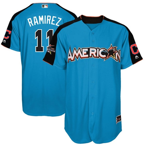 Men's Majestic Cleveland Indians #11 Jose Ramirez Authentic Blue American League 2017 MLB All-Star MLB Jersey