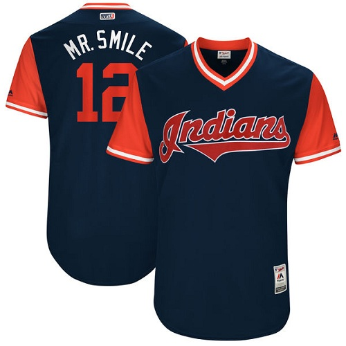 "Men's Majestic Cleveland Indians #12 Francisco Lindor ""Mr. Smile"" Authentic Navy Blue 2017 Players Weekend MLB Jersey"