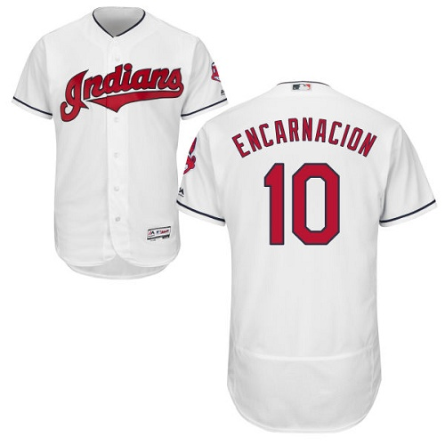 Men's Majestic Cleveland Indians #10 Edwin Encarnacion White Flexbase Authentic Collection MLB Jersey