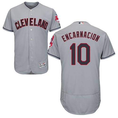 Men's Majestic Cleveland Indians #10 Edwin Encarnacion Grey Flexbase Authentic Collection MLB Jersey