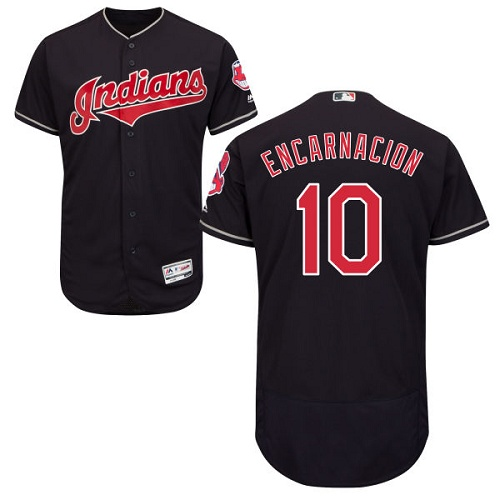 Men's Majestic Cleveland Indians #10 Edwin Encarnacion Navy Blue Flexbase Authentic Collection MLB Jersey
