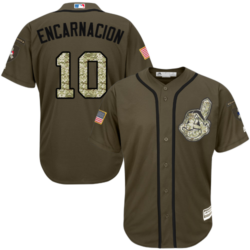 Men's Majestic Cleveland Indians #10 Edwin Encarnacion Replica Green Salute to Service MLB Jersey