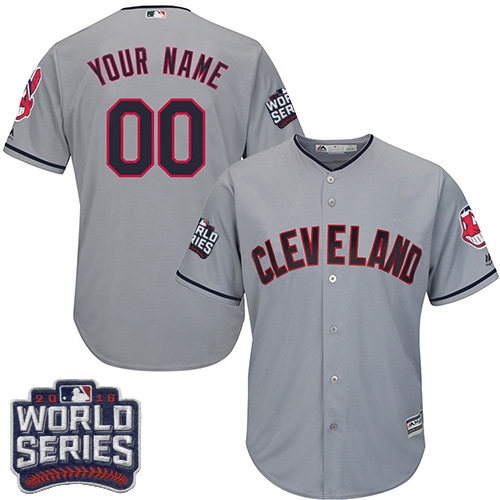 Youth Majestic Cleveland Indians Customized Authentic Grey Road 2016 World Series Bound Cool Base MLB Jersey