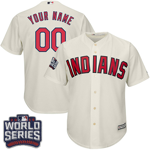 Youth Majestic Cleveland Indians Customized Authentic Cream Alternate 2 2016 World Series Bound Cool Base MLB Jersey