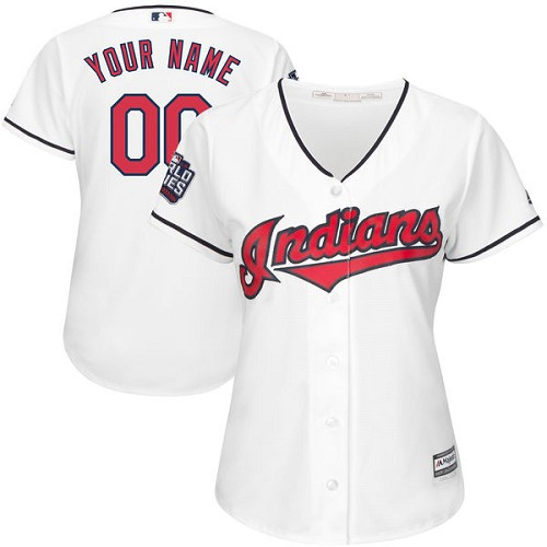 Women's Majestic Cleveland Indians Customized Authentic White Home 2016 World Series Bound Cool Base MLB Jersey