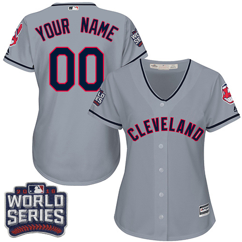 Women's Majestic Cleveland Indians Customized Authentic Grey Road 2016 World Series Bound Cool Base MLB Jersey