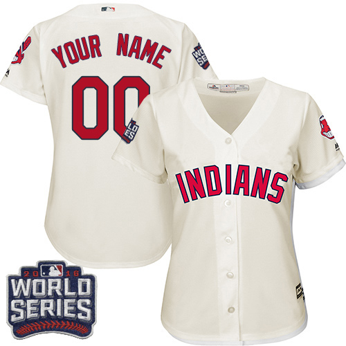 Women's Majestic Cleveland Indians Customized Authentic Cream Alternate 2 2016 World Series Bound Cool Base MLB Jersey