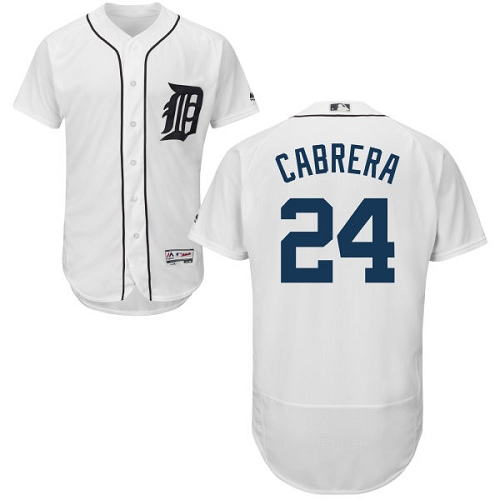 Men's Majestic Detroit Tigers #24 Miguel Cabrera Authentic White Home Cool Base MLB Jersey