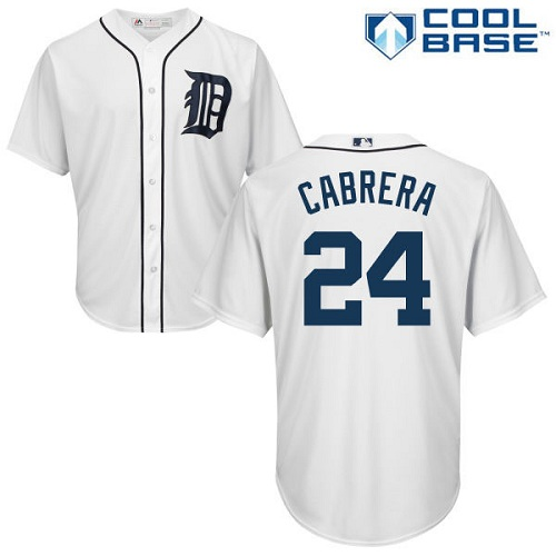 Men's Majestic Detroit Tigers #24 Miguel Cabrera Replica White Home Cool Base MLB Jersey