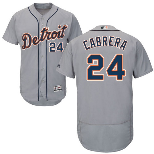 Men's Majestic Detroit Tigers #24 Miguel Cabrera Authentic Grey Road Cool Base MLB Jersey