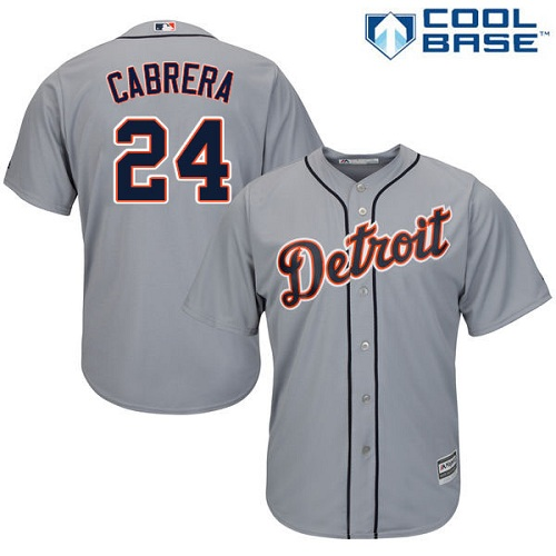 Men's Majestic Detroit Tigers #24 Miguel Cabrera Replica Grey Road Cool Base MLB Jersey