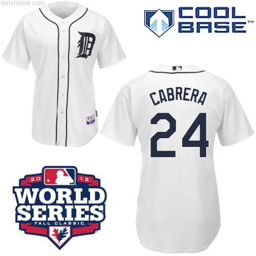 Men's Majestic Detroit Tigers #24 Miguel Cabrera Replica White 2012 World Series Patch MLB Jersey