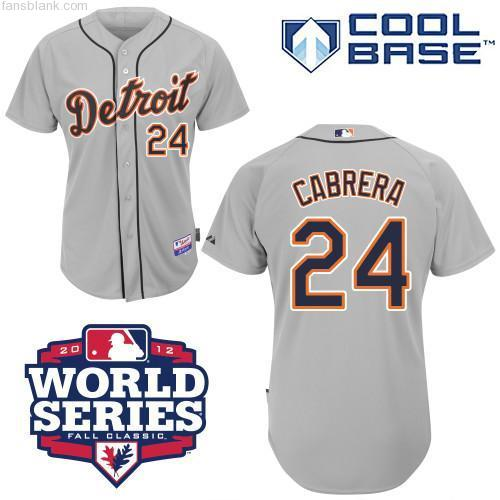 Men's Majestic Detroit Tigers #24 Miguel Cabrera Replica Grey 2012 World Series Patch MLB Jersey