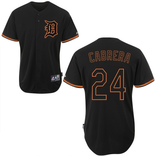 Men's Majestic Detroit Tigers #24 Miguel Cabrera Authentic Black Fashion MLB Jersey