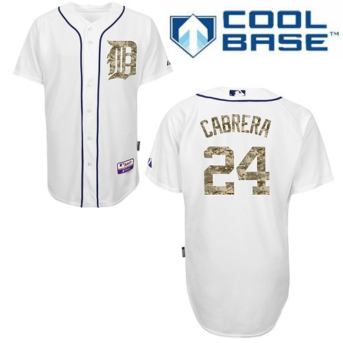 Men's Majestic Detroit Tigers #24 Miguel Cabrera Replica White USMC Cool Base MLB Jersey
