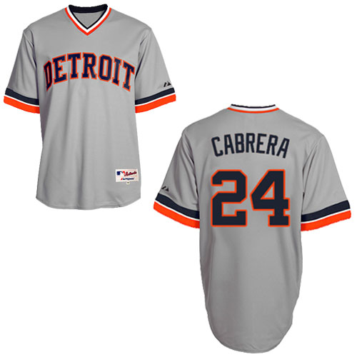 Men's Majestic Detroit Tigers #24 Miguel Cabrera Authentic Grey 1970 Turn Back The Clock MLB Jersey