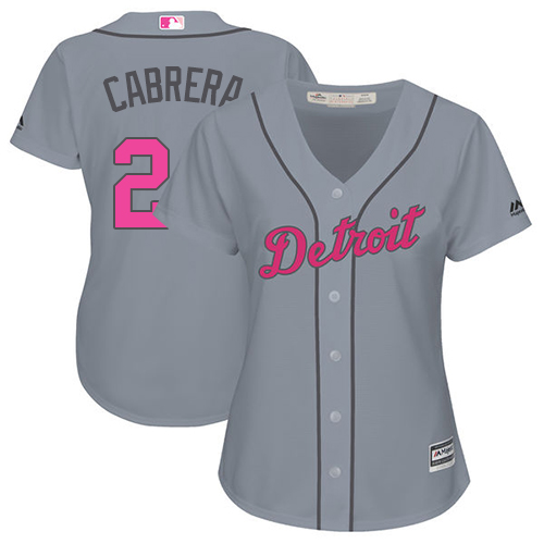Women's Majestic Detroit Tigers #24 Miguel Cabrera Authentic Grey Mother's Day Cool Base MLB Jersey