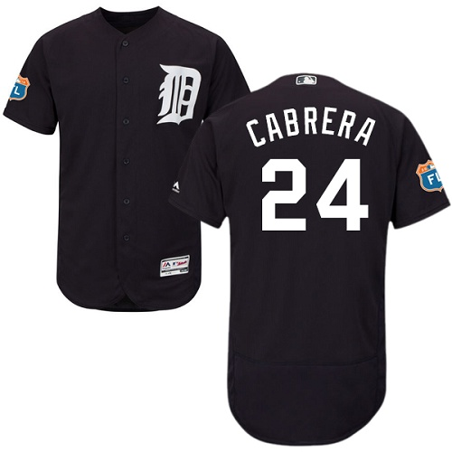 Men's Majestic Detroit Tigers #24 Miguel Cabrera Navy Blue Flexbase Authentic Collection MLB Jersey