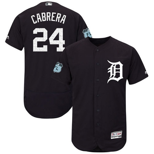 Men's Majestic Detroit Tigers #24 Miguel Cabrera Navy Blue 2017 Spring Training Authentic Collection Flex Base MLB Jersey