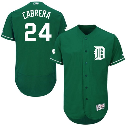 Men's Majestic Detroit Tigers #24 Miguel Cabrera Green Celtic Flexbase Authentic Collection MLB Jersey