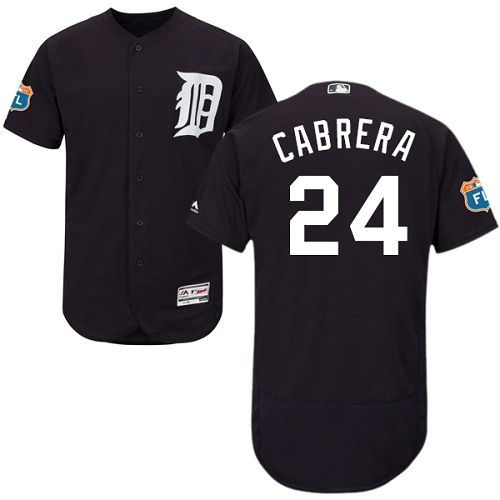 Men's Majestic Detroit Tigers #24 Miguel Cabrera Authentic Navy Blue Cool Base MLB Jersey