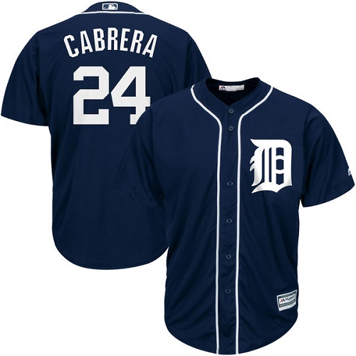 Men's Majestic Detroit Tigers #24 Miguel Cabrera Replica Navy Blue Cool Base MLB Jersey