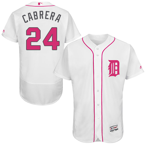 Men's Majestic Detroit Tigers #24 Miguel Cabrera Authentic White 2016 Mother's Day Fashion Flex Base MLB Jersey