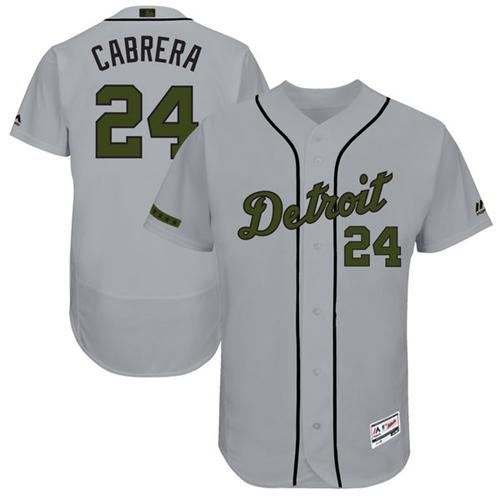 Men's Majestic Detroit Tigers #24 Miguel Cabrera Grey Memorial Day Authentic Collection Flex Base MLB Jersey