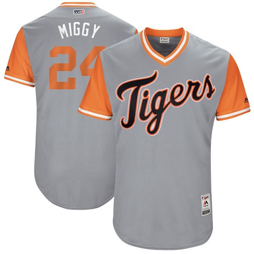 "Men's Majestic Detroit Tigers #24 Miguel Cabrera ""Miggy"" Authentic Gray 2017 Players Weekend MLB Jersey"