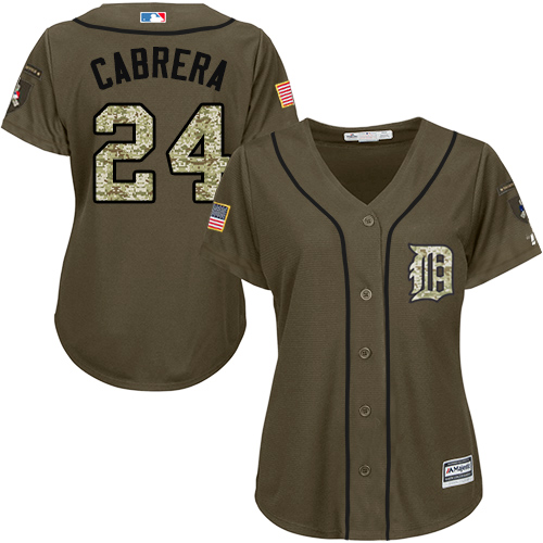 Women's Majestic Detroit Tigers #24 Miguel Cabrera Authentic Green Salute to Service MLB Jersey