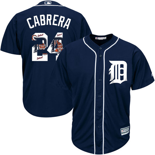 Men's Majestic Detroit Tigers #24 Miguel Cabrera Authentic Navy Blue Team Logo Fashion Cool Base MLB Jersey