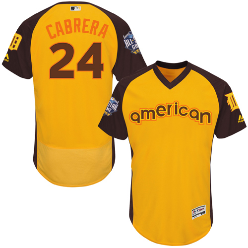 Men's Majestic Detroit Tigers #24 Miguel Cabrera Yellow 2016 All-Star American League BP Authentic Collection Flex Base MLB Jersey