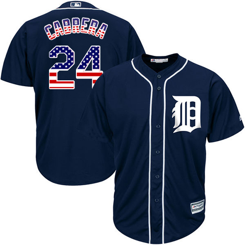 Men's Majestic Detroit Tigers #24 Miguel Cabrera Authentic Navy Blue USA Flag Fashion MLB Jersey