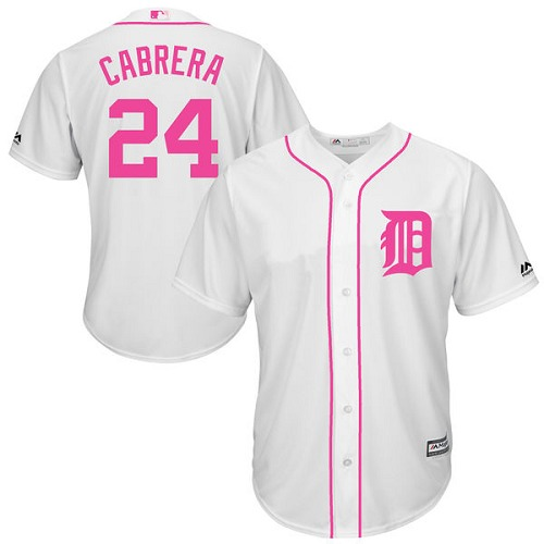 Men's Majestic Detroit Tigers #24 Miguel Cabrera Replica White 2016 Mother's Day Fashion Cool Base MLB Jersey