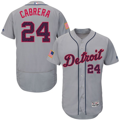 Men's Majestic Detroit Tigers #24 Miguel Cabrera Grey Fashion Stars & Stripes Flex Base MLB Jersey