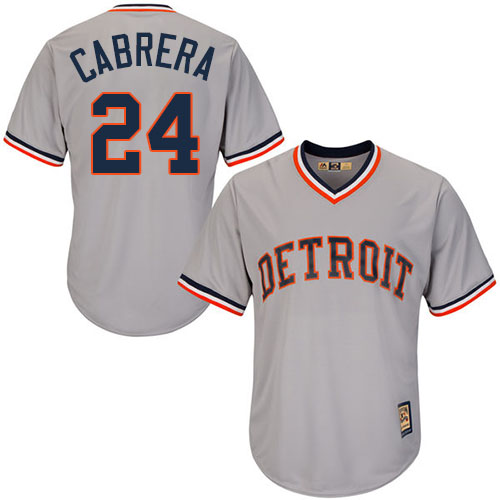 Men's Majestic Detroit Tigers #24 Miguel Cabrera Replica Grey Cooperstown MLB Jersey