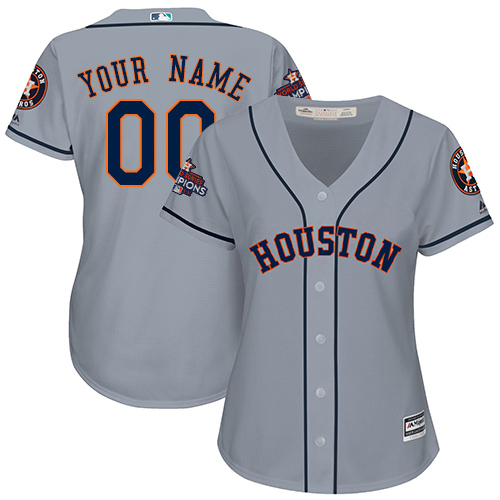 Women's Majestic Houston Astros Customized Authentic Grey Road 2017 World Series Champions Cool Base MLB Jersey