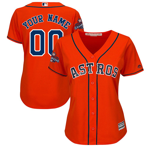 Women's Majestic Houston Astros Customized Replica Orange Alternate 2017 World Series Champions Cool Base MLB Jersey