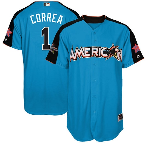 Men's Majestic Houston Astros #1 Carlos Correa Authentic Blue American League 2017 MLB All-Star MLB Jersey