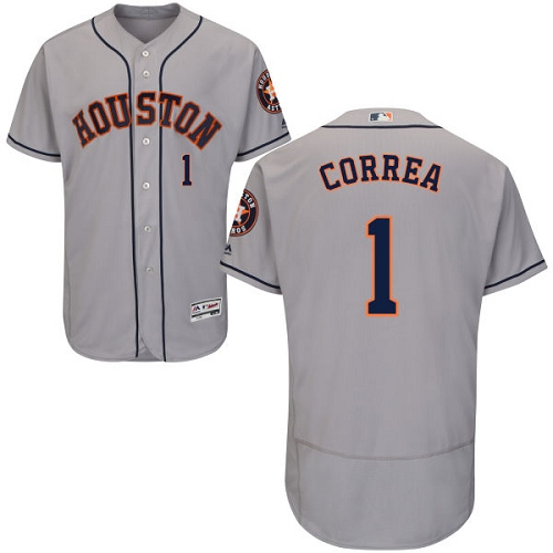 Men's Majestic Houston Astros #1 Carlos Correa Authentic Grey Road Cool Base MLB Jersey