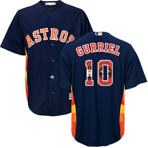 Men's Majestic Houston Astros #10 Yuli Gurriel Authentic Navy Blue Team Logo Fashion Cool Base MLB Jersey