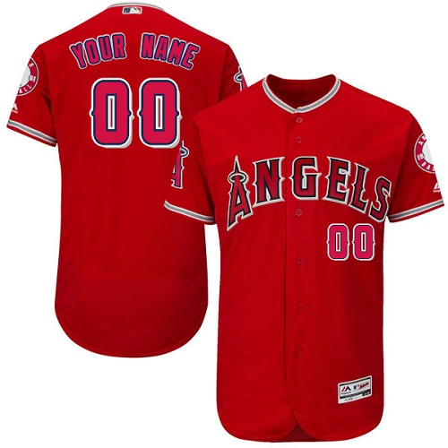 Men's Majestic Los Angeles Angels of Anaheim Customized Red Alternate Flexbase Authentic Collection MLB Jersey