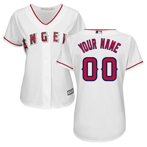 Women's Majestic Los Angeles Angels of Anaheim Customized Replica White Home Cool Base MLB Jersey