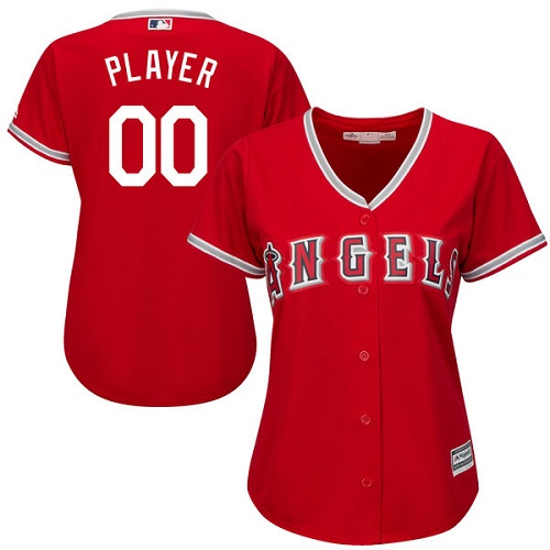 Women's Majestic Los Angeles Angels of Anaheim Customized Authentic Red Alternate Cool Base MLB Jersey