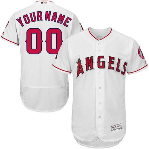 Men's Majestic Los Angeles Angels of Anaheim Customized White Flexbase Authentic Collection MLB Jersey